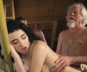 Old man puts his cock inside..